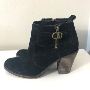 Lucky Brand Black Suede Block Heel Ankle Booties